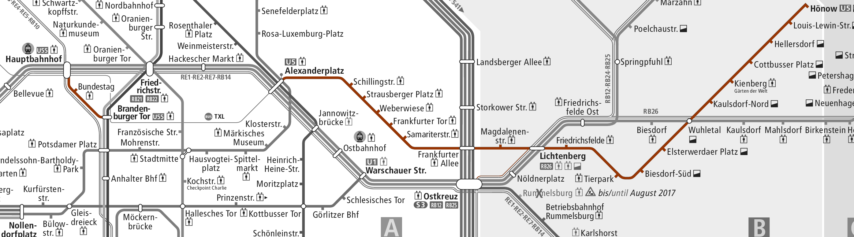 map of current U5 line, close up